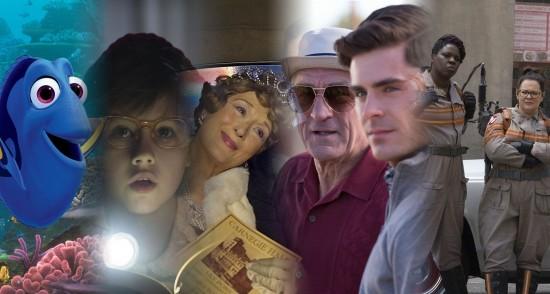 """הסרטים של 2016. מימין: מכסחות השדים, סבא בהפרעה, פלורנס פוסטר ג'נקינס, העי""""ג, מוצאים את דורי."""