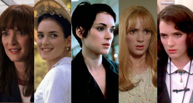 """הופעותיה של וינונה ריידר בסרטים ובסדרות. מימין: """"מלכות הכיתה"""", """"המספריים של אדוארד"""", """"נערה בהפרעה"""", """"נשים קטנות"""", """"דברים מוזרים""""."""