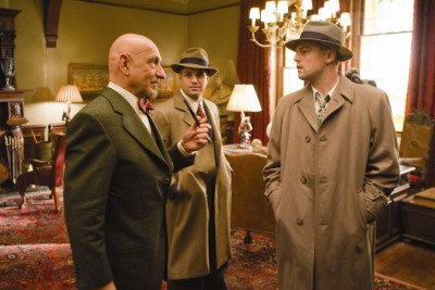 מימין לשמאל: ליאונרדו די'קפריו, מארק רופאלו ובן קינגסלי. מתוך שאטר איילנד.