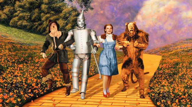 """""""הקוסם מארץ עוץ"""". ברט להאר, ג'ודי גרלנד, ג'ק היילי, ריי בולגר."""