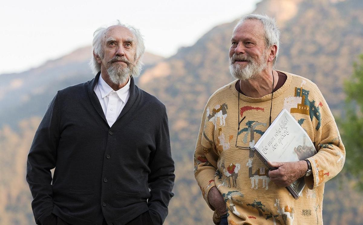 """תמונה של טרי גיליאם עם ג'ונתן פרייס מתוך """"האיש שהרג את דון קישוט"""""""