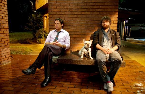 """זאק גליפיאנקיס עם רוברט דאוני ג'וניור. """"אל תלחצי אני בדרך""""."""