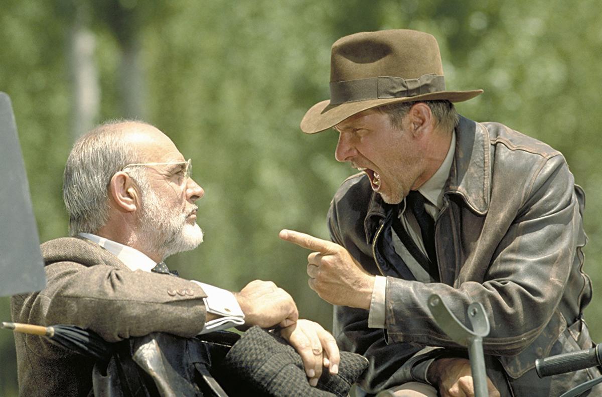 """תמונה של שון קונרי עם האריסון פורד מתוך """"אינדיאנה ג'ונס ומסע הצלב האחרון"""""""