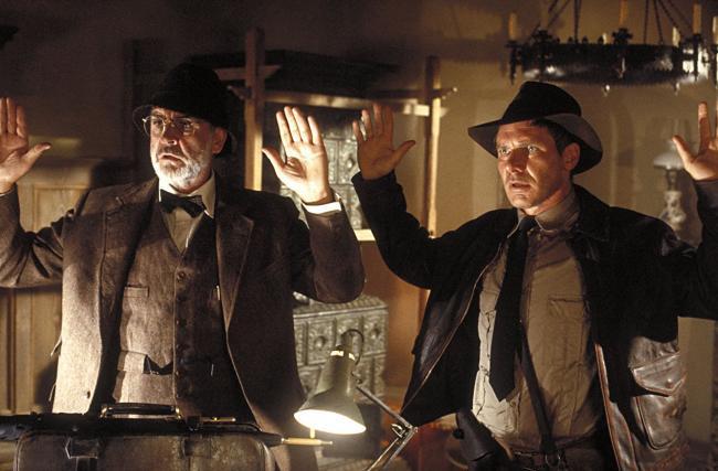 """""""אינדיאנה ג'ונס ומסע הצלב האחרון"""". האריסון פורד, שון קונרי."""